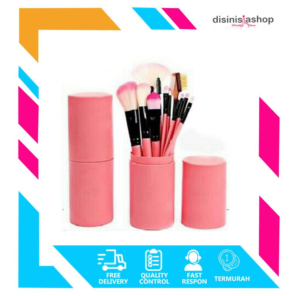 [DISINIAJA] MakeUp Brush 12 set in tube / kuas rias make up 12 set / kuas make up tabung 12pcs